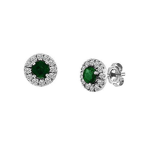 Emerald and Diamond Halo Earrings set in 14k Gold