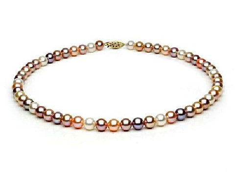7, 5-8mm Multi Colored Freshwater Pearl Necklace