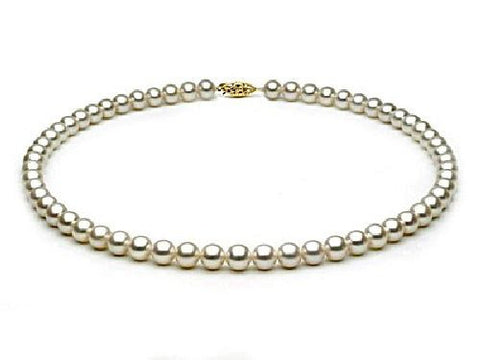 7, 5-8mm White Freshwater Pearl Necklace AA