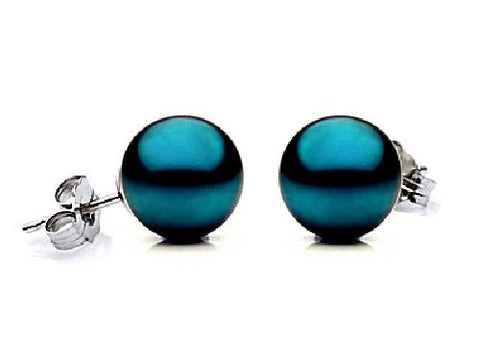 8.5-9mm Black Freshwater Pearl Earrings