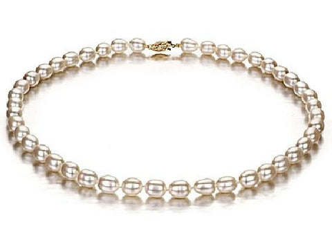 7-7,5mm White Rice Pearl Necklace AA