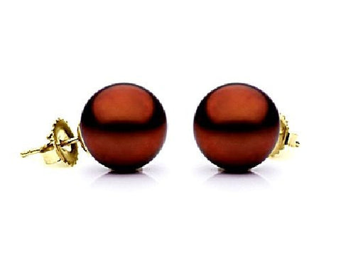 7.5-8mm Chocolate Freshwater Pearl Earrings AA