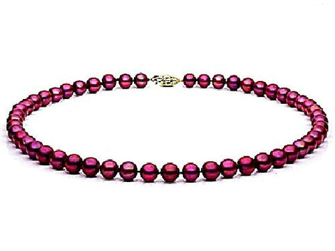 7, 5-8mm Cranberry Freshwater Pearl Necklace