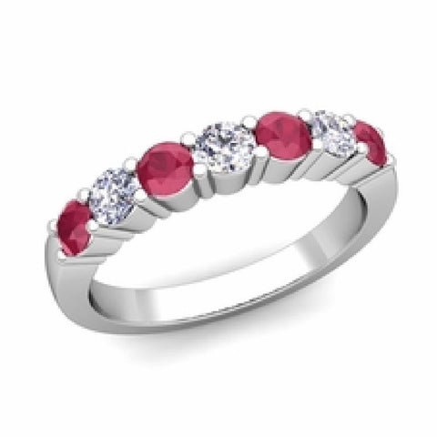 14kt White Gold 7 Stone Ruby and Diamond Wedding Band 0.95ct TW
