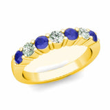 14kt White Gold 7 Stone Blue Sapphire and Diamond Wedding Band 0.95ct TW