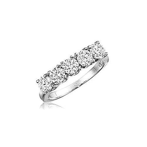 14kt White Gold 5 Stone Diamond Wedding Band 1 1/2ct TW