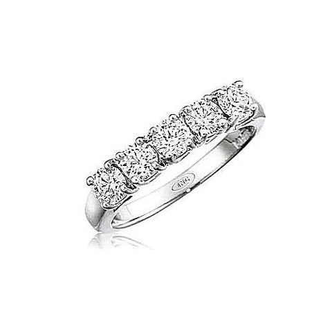 5 Stone Diamond Wedding Band 3/4ct TW 14kt White Gold