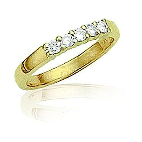 14kt Gold Common Prong Round Diamond Wedding Band 1ct TW