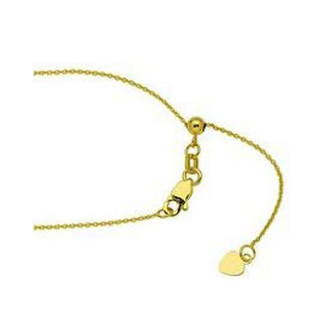 10kt Yellow Gold Adjustable Cable Chain Necklace