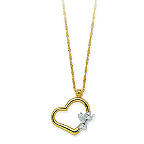 14kt Two Tone Gold Heart with Angel Pendant