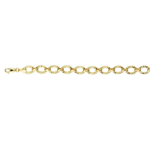 Sterling Silver  Hollow Oval Links Fancy Bracelet 14kt Yellow Gold Overlay