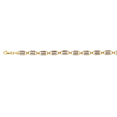 Sterling Silver Two Tone Hollow Cylinder Link Bracelet