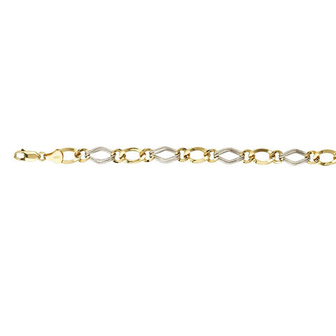 Sterling Silver Two Tone Hollow Dia Shape,Round/Oval Links Bracelet