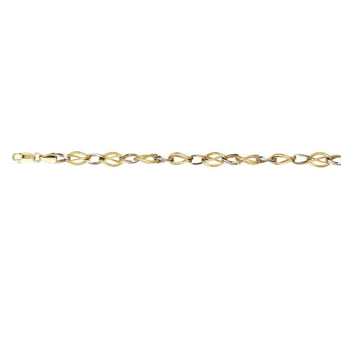 Sterling Silver Two Tone Hollow Fancy Double Link Bracelet