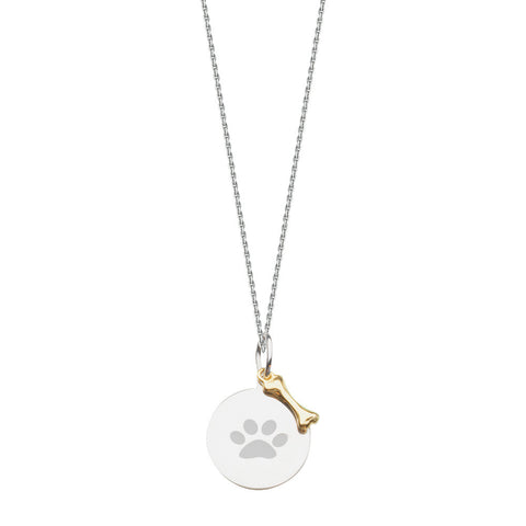 Sterling Silver PAW Disc and 14kt Dog Bone Adjustable Necklace