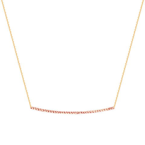 14kt Rose Gold Diamond Cut Bar Necklace adjustable