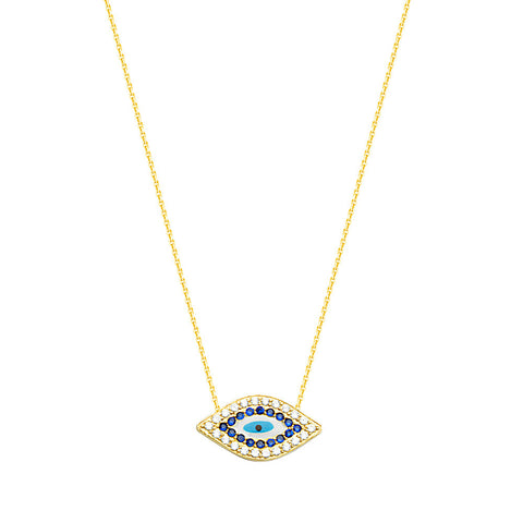 """The right eye of God"" 14kt Yellow Gold CZ Necklace adjustable"
