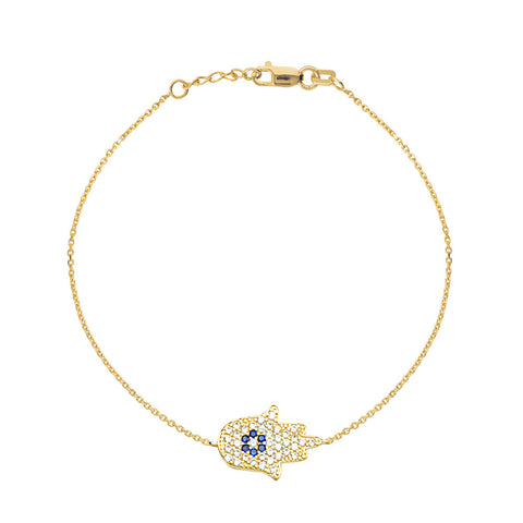 14kt Yellow Gold Hamsa CZ Bracelet adjustable