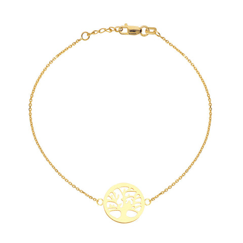 14kt Yellow Gold Tree of Life Bracelet adjustable