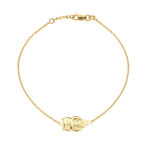 14kt Yellow Gold East2West Owl Bracelet adjustable