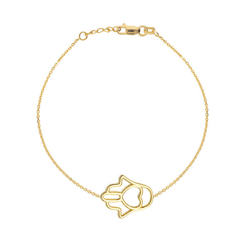 14kt Yellow Gold Hamsa Bracelet adjustable