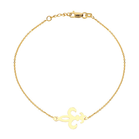 14kt Y.G. East2West Fleur De Lis Bracelet adjustable