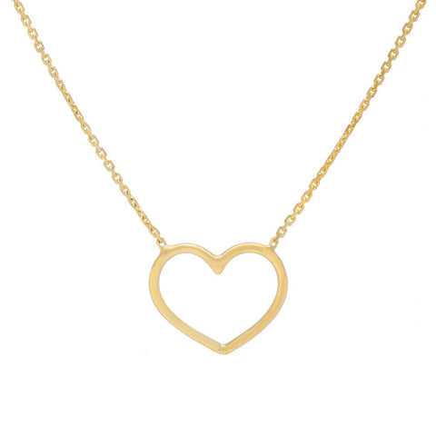 14kt Yellow Gold Wire Heart Adjustable Necklace
