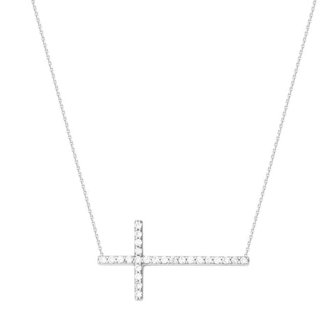 14kt White Gold High Polished East2West CZ Cross Necklace