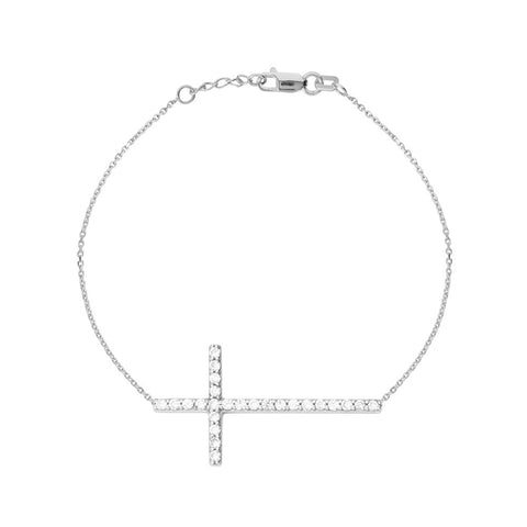 14kt White Gold East2West CZ Cross Bracelet adjustable