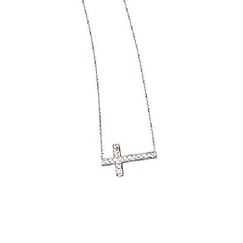 14kt White Gold East2West Diamond Cut Cross Necklace adjustable