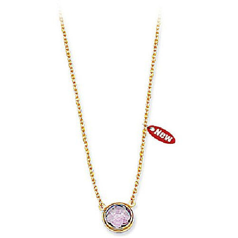 14kt Yellow Gold 8mm Round Bezel Set Amethyst Necklace