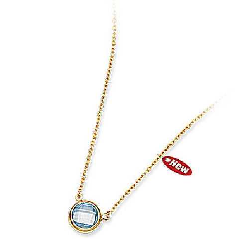14kt Yellow Gold 8mm Round Bezel Set Blue Topaz Necklace