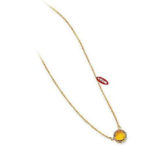 14kt Yellow Gold 8mm Round Bezel Set Citrine Necklace