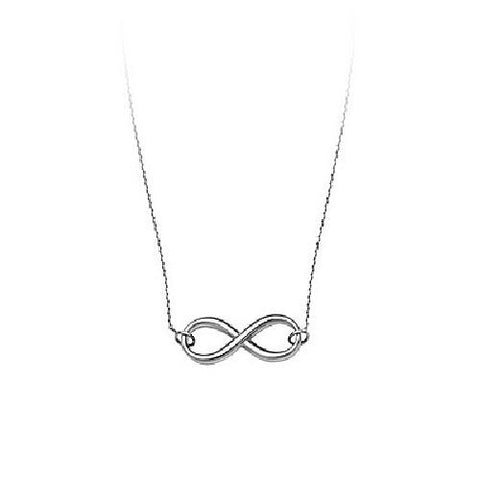 14kt White Gold High Polished East2West Infinity Necklace