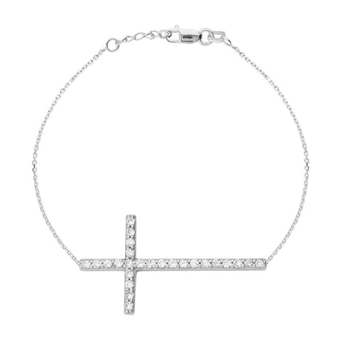 Sterling Silver East2West CZ Cross Bracelet adjustable