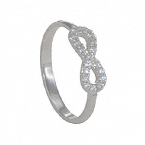 Sterling Silver High Polished Infinity Ring with Cubic Zirconia