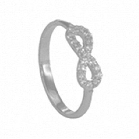 14kt White Gold High Polished Infinity Ring with Cubic Zirconia