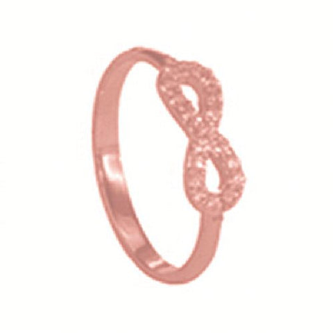 14kt Rose Gold High Polished Infinity Ring with Cubic Zirconia