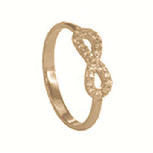 14kt Yellow Gold High Polished Infinity Ring with Cubic Zirconia