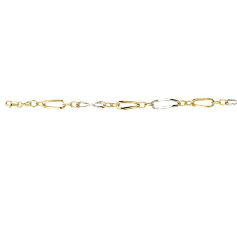 Sterling Silver Two Tone Hollow 2+1 Oval Link Bracelet