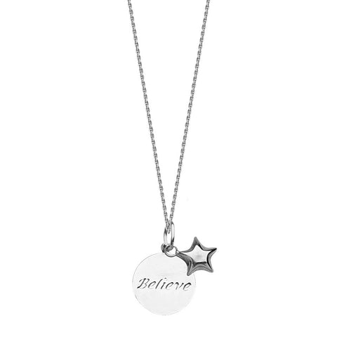 Sterling Silver BELIEVE Disc and Star Adjustable Necklace