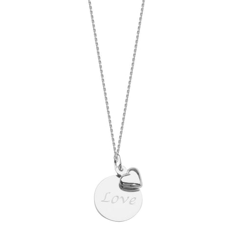 Sterling Silver LOVE Disc and Heart Adjustable Necklace