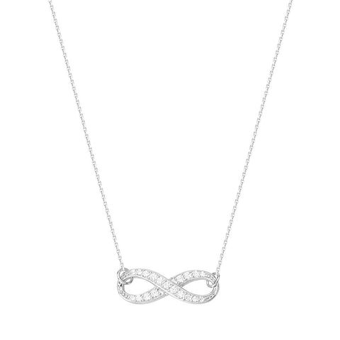 14kt White Gold East2West CZ Infinity Necklace adjustable