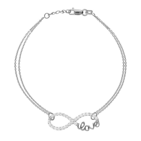 Sterling Silver East2West CZ Infinity Love Bracelet adjustable