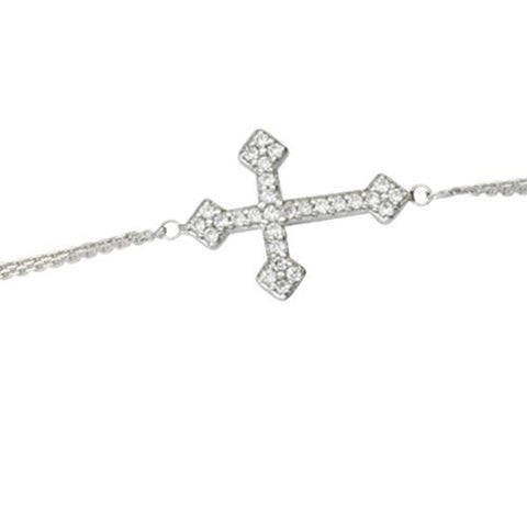 Sterling Silver East2West CZ Fancy Cross Bracelet adjustable