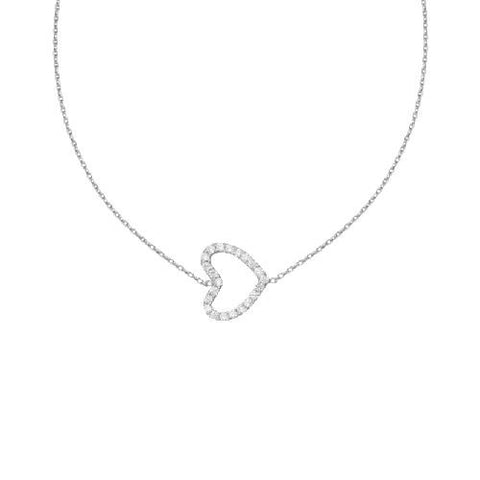 14kt White Gold East2West CZ Heart Necklace adjustable