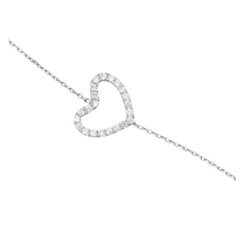 14kt White Gold East2West CZ Heart Bracelet adjustable