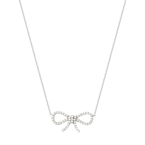 14kt White Gold East2West Bowtie Cubic Zirconia Necklace adjustable