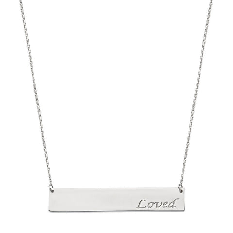 Sterling Silver East2West Nameplate with LOVED Engraved Adjustable Necklace