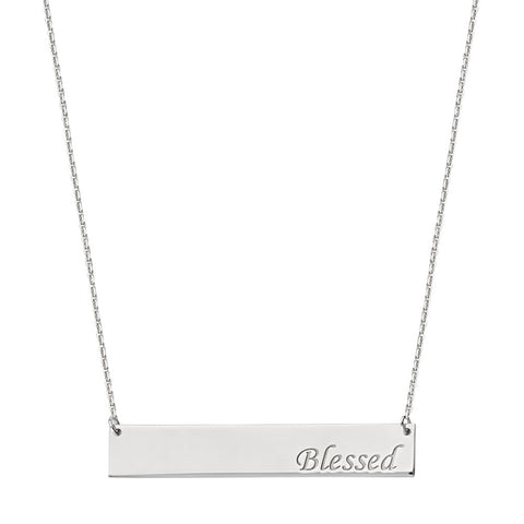 Sterling Silver East2West Nameplate with BLESSED Engraved Adjustable Necklace